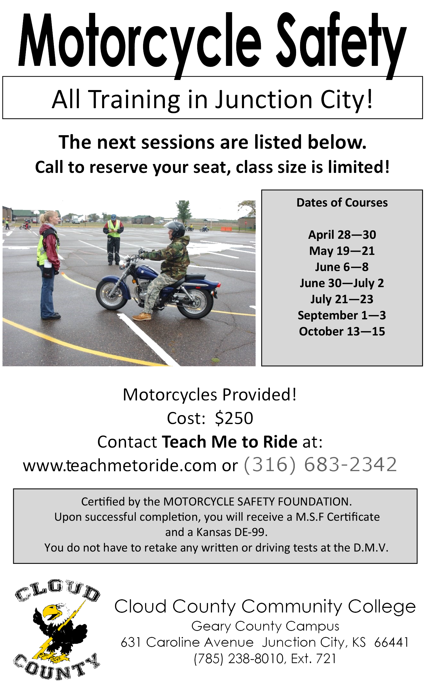2017 Motorcycle Saftey schedule