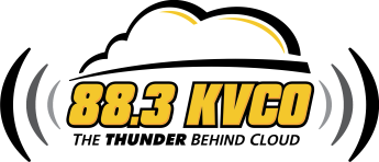 The logo for KVCO radio.