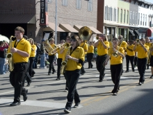 The CCCC Marching Band at a parade.