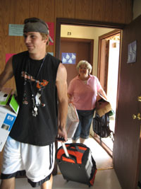 Photo of student on move-in day