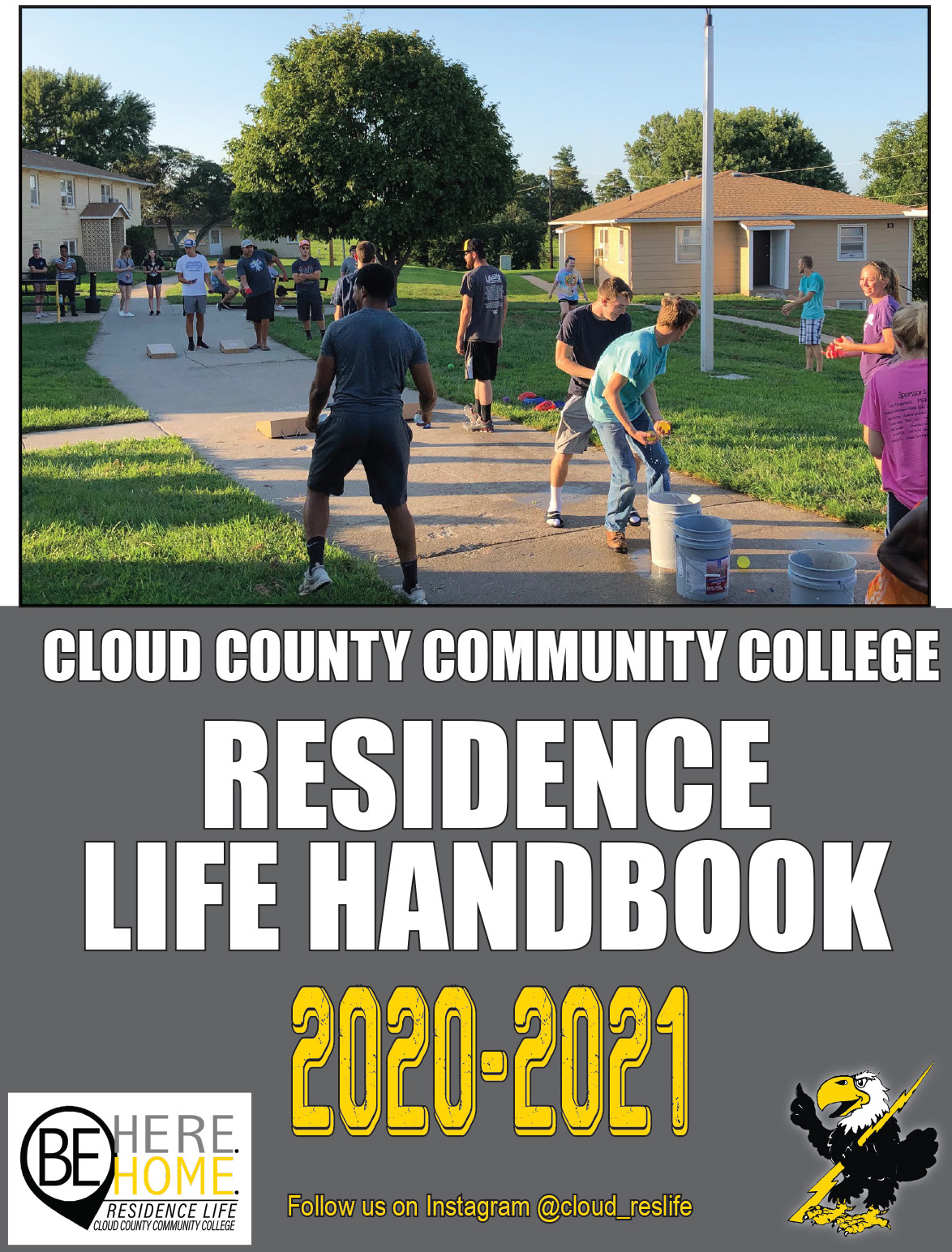 A photo of the 2020-2021 Residence Life handbook cover.