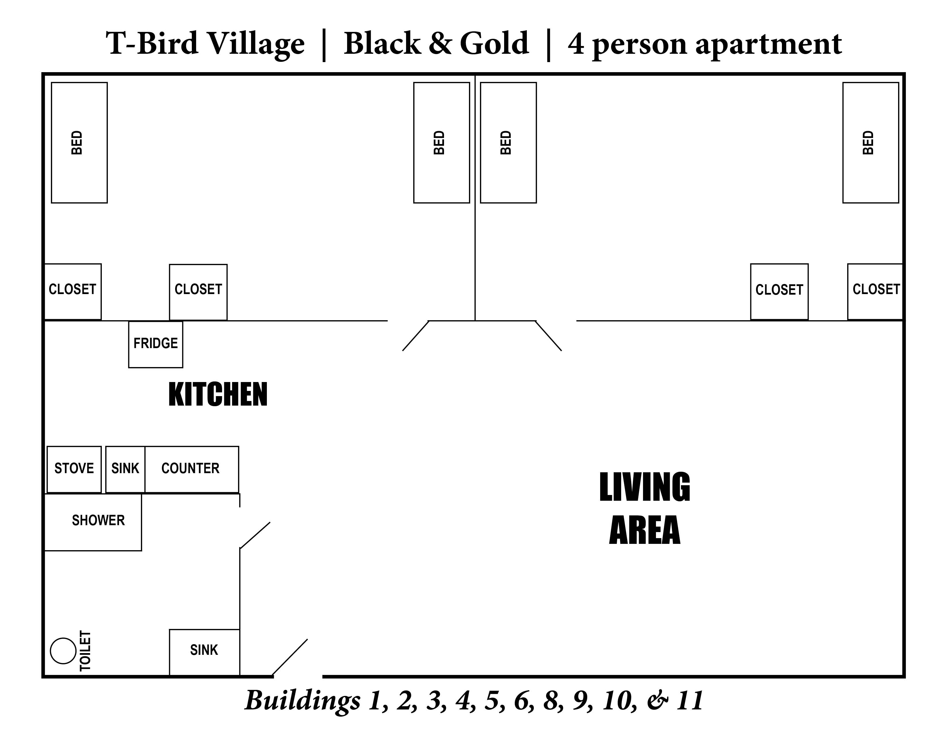 A photo of the layout of T-Bird Village 4 person apartment.