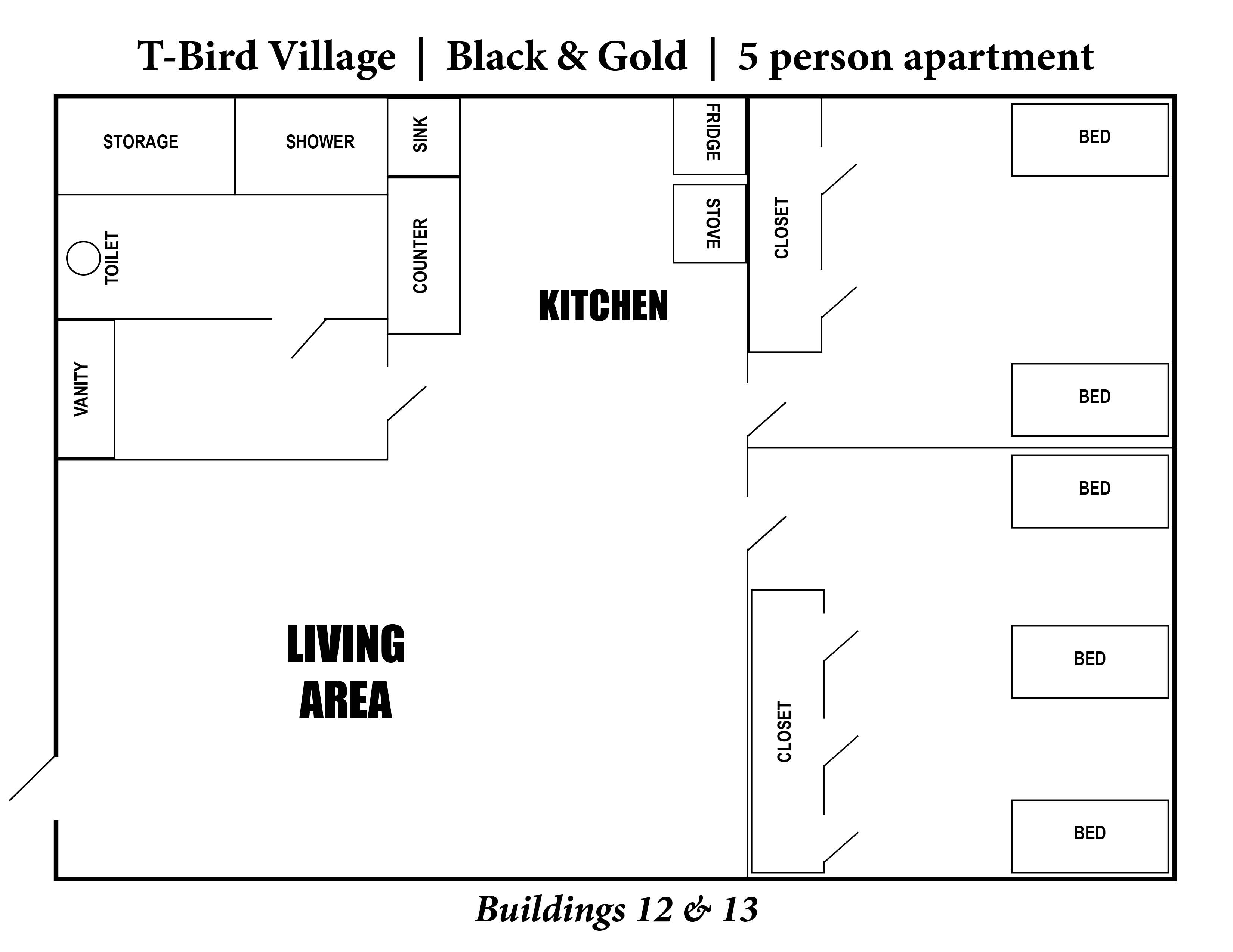A photo of the layout of T-Bird Village 5 person apartment.