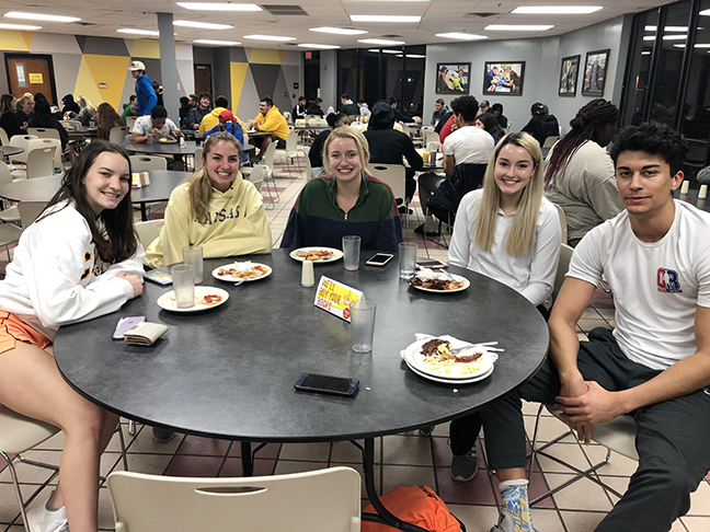 A photo of students in the T-Bird Café.