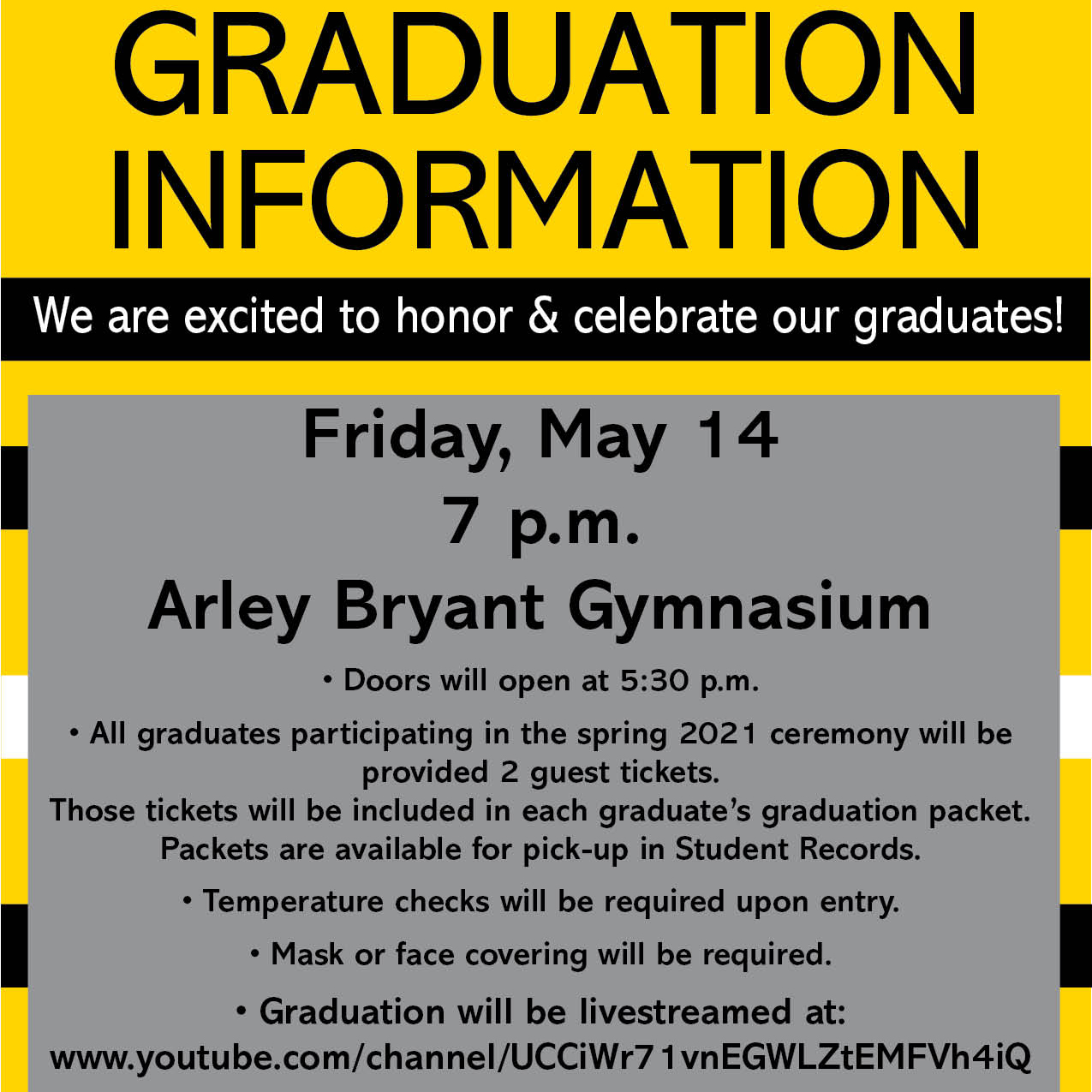 A photo of the 2021 Graduation information.