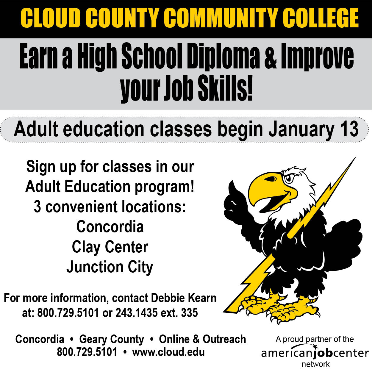 Courses to be offered in the Adult Education program.