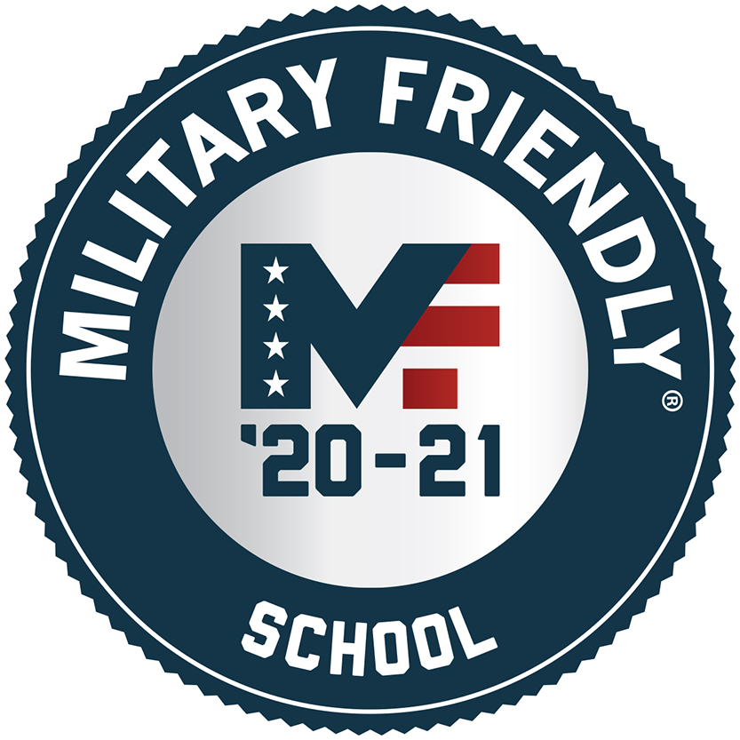 A badge signifying Cloud County is a military friendly school.
