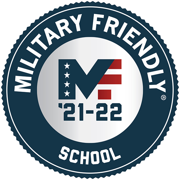 A photo of the Military Friendly School 21-22 badge.