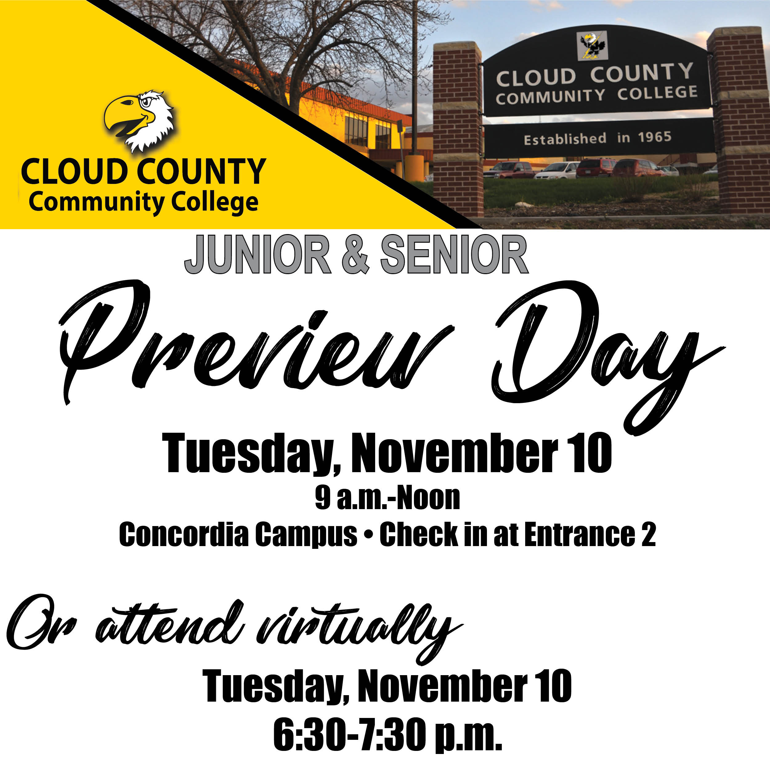 A photo of the Junior-Senior Preview Day information.