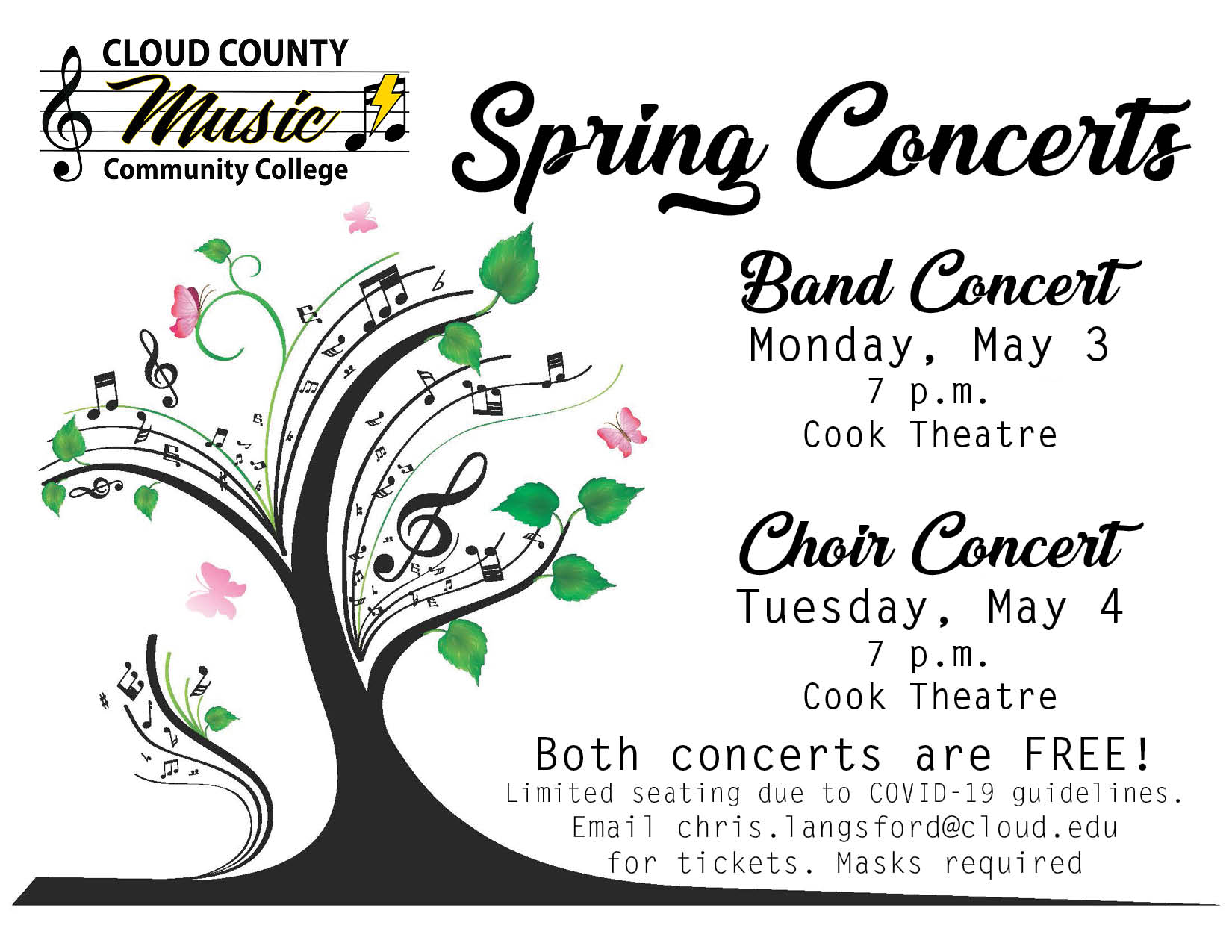 A photo of the upcoming spring music concerts.