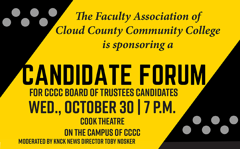 Board of Trustees candidate forum announcement.