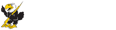 Cloud County Community College Logo - a T-Bird holding a gold lightning bolt